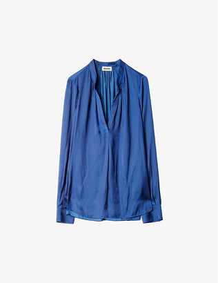 Zadig & Voltaire Tink shirred satin tunic top