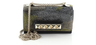 Valentino Va Va Voom Clutch Crystal Camo Embellished Suede and Leather Small