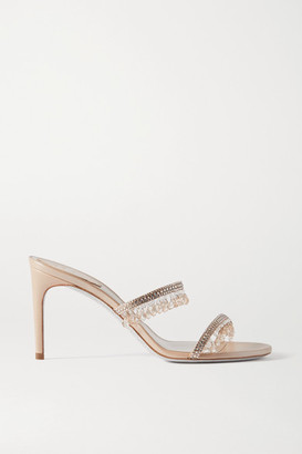 Rene Caovilla Crystal-embellished Satin And Metallic Leather Sandals - Beige