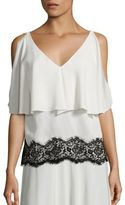 Derek Lam Silk Lace Cold Shoulder Top