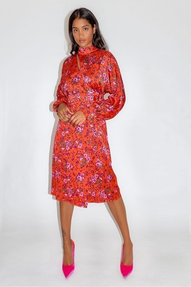 Liquorish Red Floral Fake Wrap Midi Dress