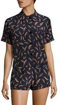 Araks Shelby Printed Silk Charmeuse Pajama Top