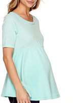 Asstd National Brand Maternity 3/4-Sleeve Mixed Media Peplum Top - Plus
