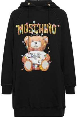 Moschino Glittered Printed French Cotton-terry Hooded Mini Dress