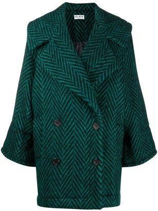 Alaïa Pre-Owned 1980s Zigzag Pattern Double-Breasted Coat