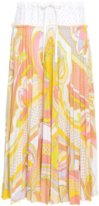 Emilio Pucci Perforated Cotton-paneled Printed Crepe Midi Skirt