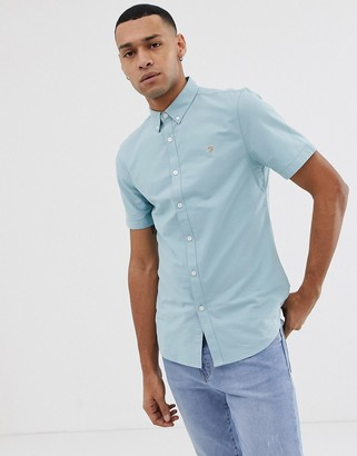 Farah Brewer slim fit short sleeve oxford shirt in turquoise-Blue
