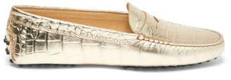 Tod's Gommini Crocodile-effect Leather Loafers - Womens - Gold