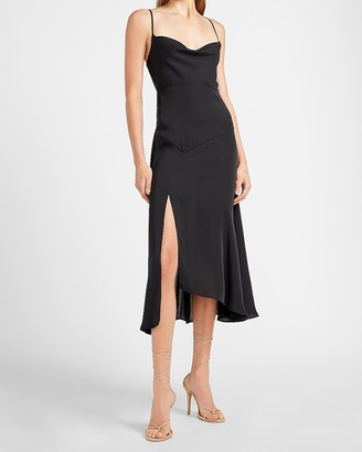 Express Asymmetrical Cowl Neck Slip Dress