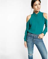 Express slim fit cold shoulder shirt