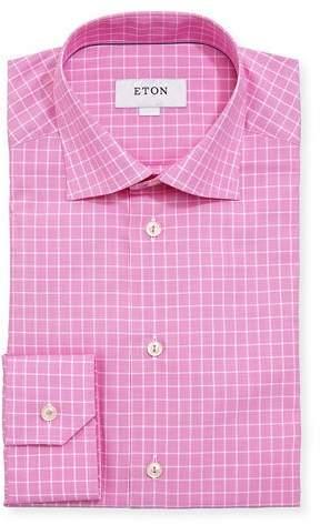 Eton Box-Check Cotton Dress Shirt