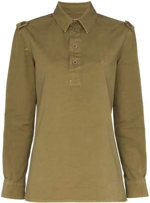 Saint Laurent Long-Sleeved Safari-Style Polo Shirt