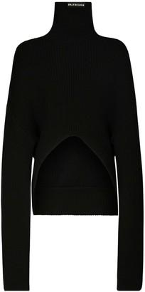 Balenciaga Over Knit Wool Turtleneck Sweater