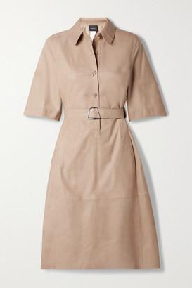 Akris Belted Paneled Leather Shirt Dress - Sand