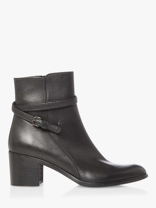 Dune Patti Leather Refined Buckle Detail Zip Ankle Boots, Black