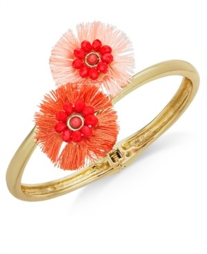 INC International Concepts Inc Gold-Tone Beaded Fringe Flower Bypass Hinge Bracelet, Created for Macy's
