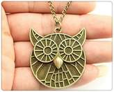 Nobrand No brand vintage antique bronze color 41*38mm owl pendant necklace,70cm chain long necklace