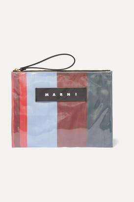 Marni Leather-trimmed Pvc And Striped Canvas Pouch - Blue