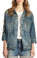 R 13 Oversized Distressed Denim Jacket