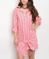 Coral & Ivory Stripe Tie-Front Shirt Dress
