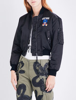 Moschino Ladies Black Exposed Zip Transformer Teddy Shell Bomber Jacket