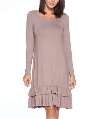 Isaac Liev Women's Tunics Mocha - Mocha Two-Tier Ruffle Hem Shift Dress - Women & Plus