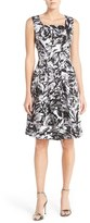 Ellen Tracy Print Stretch Cotton Fit & Flare Dress (Regular & Petite)