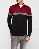 Express Merino Wool-Blend Thermal Regulating Color Block Quarter Zip Sweater