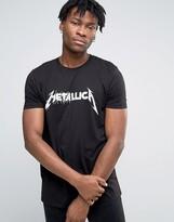 Asos Metallica Longline Band T-Shirt With Spliced Logo