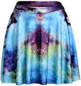Sister Amy Women's Pleated Elastic Waist Band Flared Galaxy Print Midi Skater L
