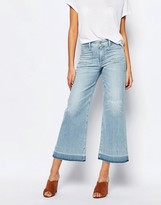 A Gold E A-Gold-E June Cropped Wide Leg Jeans With Raw Hem