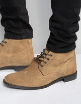 Asos Brogue Boots in Stone Suede With Brown Leather Trims