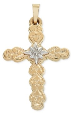 Macy's Diamond Accent Two-Tone Filigree Cross Pendant in 14k Gold & White Gold