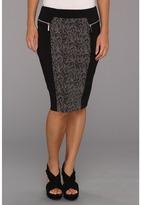 MICHAEL Michael Kors Petite Zip Ponte Combo Skirt (Black) - Apparel