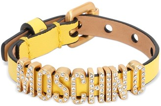 Moschino Leather Belt Bracelet W/crystal