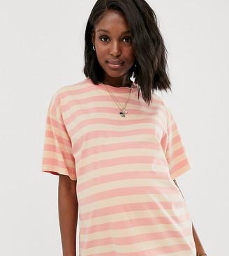 Asos DESIGN Maternity boxy t-shirt in washed stripe-Orange