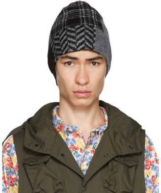 Engineered Garments Black and Grey Patchwork Beanie