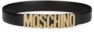 Moschino Crystal-Embellished Logo Leather Belt