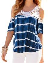 FANOVI Womens Crochet Flower Lace Cold Shoulder Tie Dye Casual Loose Shirt Top S 6