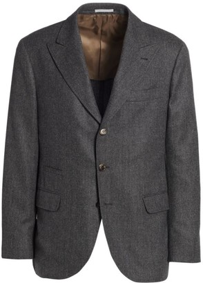 Brunello Cucinelli Herringbone Wool & Cashmere Jacket
