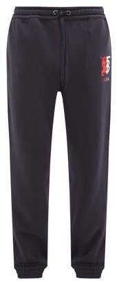 Burberry Marshall Logo-embroidered Cotton Track Pants - Mens - Navy