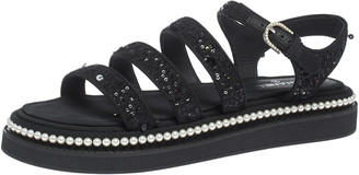 Chanel Black Tweed Sequin And Pearl Embellished Strappy Flat Sandals Size 40