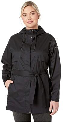 Columbia Plus Size Pardon My Trench Rain Jacket (Black) Women's Coat
