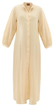 BEIGE Albus Lumen - Levitas Balloon-sleeve Cotton Dress - Womens