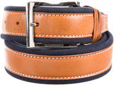 Tod's Leather Canvas-Trimmed Belt