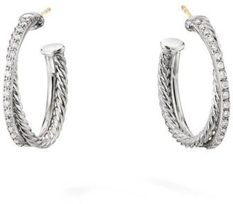 David Yurman Crossover Diamond & Sterling Silver Hoop Earrings