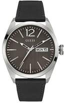 GUESS GVSS5) Men's Quartz Watch with Brown Dial Analogue Display and Black Leather Bracelet W0658G2