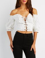 Charlotte Russe Striped Off-The-Shoulder Lace-Up Top