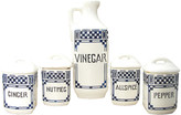 One Kings Lane Vintage Art Deco Blue & White Canisters - Set of 5 - Chez Vous