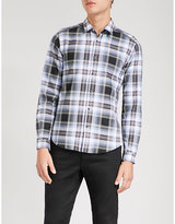 The Kooples Check slim-fit brushed cotton shirt
